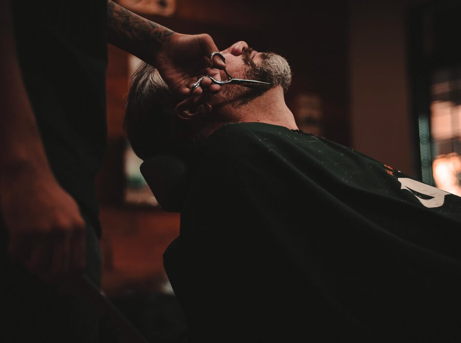 man being shaved - barber website demo image